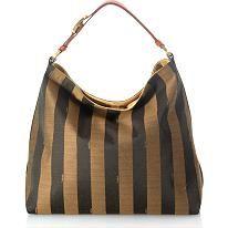 Fendi Pequin Stripe Borsa Hobo Handbag