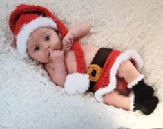 Baby Girl Elf Costume, Stocking Hat 4pc Skirt Set with Boots Crochet Photography Prop, Newborn/0-3 Months - MADE TO ORDER