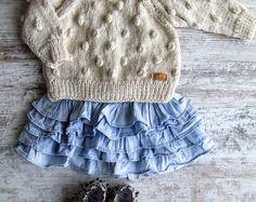 White Bubbles / Alpaca Wool Baby Sweater