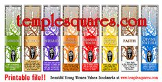 """LDS YW Young Women Values Printable Bookmarks Large 2""""x8"""" size. Eight bookmarks. Four per 8 1/2""""x11"""" page.  Fun DIY craft, activity or gift."""
