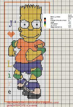 Voici un marque page à l'effigie d'un Simpson en grille gratuite :