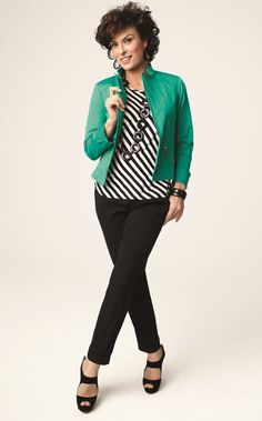 Cotton Sateen Moto Jacket, Diagonal Stripe Knit Top, and Magique Pull-On Ankle Pant #Fall #Lookbook #chicos