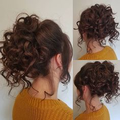 24 Updos for Naturally Curly Hair Check Out our 24 Easy-to-Do U. - 24 Updos for Naturally Curly Hair Check Out our 24 Easy-to-Do Updos, Perfect for A - Curly Hair Bun Styles, Curly Hair Dos, Curly Bun Hairstyles, Curly Wedding Hair, Curly Hair With Bangs, Short Hair Updo, Medium Hair Styles, Natural Hair Styles, Short Hair Styles