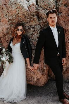 Love this trendy couple's leather jackets and edgy fashion! | Image by Alisha Siegel Photography