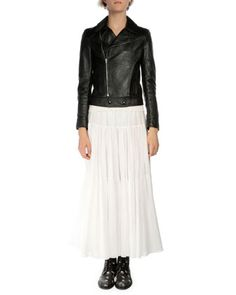 Long-Sleeve Leather Moto Jacket, Cap-Sleeve V-Neck Knit Top & Tiered A-Line Maxi Skirt by Saint Laurent at Neiman Marcus.