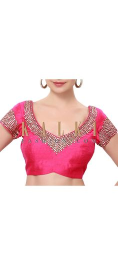Buy Online from the link below. We ship worldwide (Free Shipping over US$100). Product SKU - 316858. Product Price - $129.00. Product Link - http://www.kalkifashion.com/pink-blouse-adorn-in-kundan-and-zardosi-embroidery-only-on-kalki.html