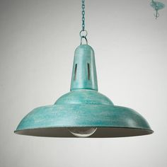 """Large ceiling lamp shade lighting fixture metal handmade with chain and metal cup industrial vintage style azure rustic color 20.47"""" / 52cm"""