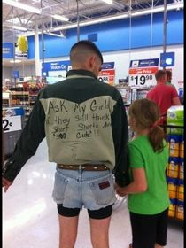 Not sure if public shaming of his children or if he wanted to dress like this in the first place