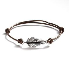 Should also work as an ankle bracelet- Silver Plate and Brown Leather Feather Link Bracelet-Kohls.com