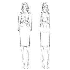 Fashion illustration - chic tailoring, fashion design drawings // Milan Zejak