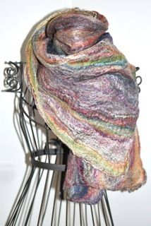 Cobweb Felted Merino and Tussah Silk Spring Scarf by SoulFibre by Neauveau Fiber Art and Handspun Yarn Shop