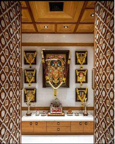 Interior Ceiling Design, Interior Ideas, Pooja Room Door Design, Corner Wall Shelves, Ethnic Home Decor, Puja Room, Prayer Room, Aesthetic Room Decor, Room Doors