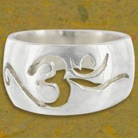 Hindu Om Silver-Plated Ring at The Rainforest Site