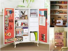 """Its a craft cupboard! If I can't have a craft room one day I'd """"settle"""" for this craft cupboard! Coin Couture, Space Crafts, Home Crafts, Craft Space, Kid Crafts, Halloween Crafts, Christmas Crafts, Christmas Ornaments, Armoires Diy"""