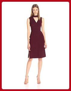 BCBGeneration Women's Deep V-Neck Dress with Mock Collar, Brule, 4 - All about women (*Amazon Partner-Link)