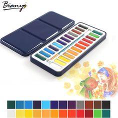 Bianyo 24 색 휴대용 주석 상자 솔리드 수채화 페인트 세트 아티스트 학교 학생 그리기 그림 문구 아트 용품
