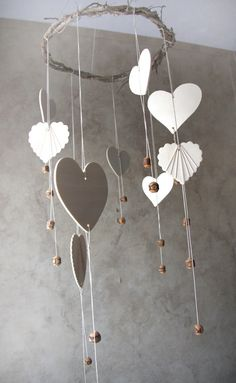 Valentines Day Decoration Heart Mobile Home Decor by YourZenZone, $43.00