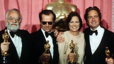 From left, producer Saul Zaentz, actor Jack Nicholson, actress Louise Fletcher and actor Michael Douglas pose with their Oscars at the 1976 ...