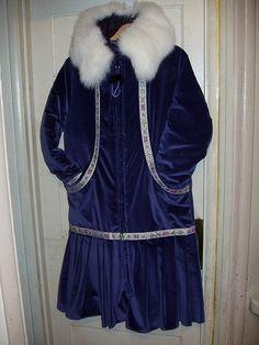 Blue velvet white fox winter kuspuk!!!!!!!