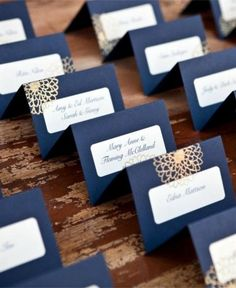 navy blue place card for beach wedding / http://www.deerpearlflowers.com/navy-blue-and-white-wedding-ideas/