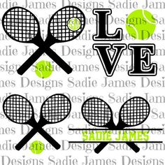 Tennis monogram and Love SVG, cricut & silhouette cutting file.