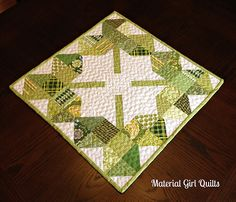 Not all stashbusters display seasonal quilts in their homes. If you do, or if you want to stitch up a gift for someone, there is still time to make this sweet shamrock topper. No pattern but easy to imitate.