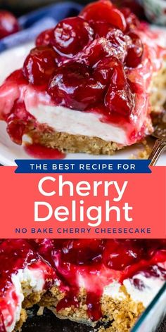 13 Desserts, Cherry Desserts, Cherry Recipes, Delicious Desserts, Recipes With Cherries, Cherry Pie Filling Desserts, Candied Cherries Recipe, Cherry Cheesecakes, Cool Whip Desserts