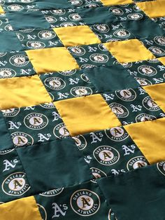 Green and Yellow Oakland A's Quilt by LoveErinMarie on Etsy