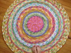 Bright & Beautiful 56 inch Crochet Rug. I do a lot of knitting but don't really know how to crochet very well...this rug gives me a reason to learn to crochet...