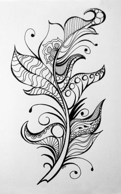 Feather Art Print by heididenney Feather Art Print<br> Feather Drawing, Feather Art, Feather Tattoos, Tattoo L, Tattoo Drawings, Zen Doodle, Doodle Art, Colouring Pages, Coloring Books