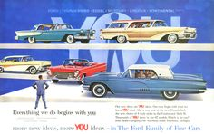 1958 Ford Family of Fine Cars. 1958 Edsel Corsair 4-door Hardtop | 1958 Mercury Colony Park Station Wagon | 1958 Ford Fairlane 500 Town Victoria | 1958 Lincoln Continental Mark III Convertible | 1958 Thunderbird Hardtop