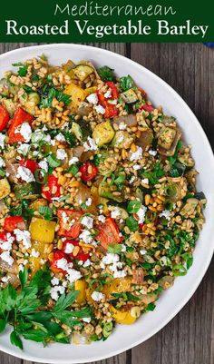 Easy roasted vegetable barley recipe, prepared Mediterranean style with fresh herbs, spices, citrus and extra virgin olive oil. Vegan Dinner Recipes, Vegan Dinners, Vegetarian Recipes, Cooking Recipes, Healthy Recipes, Barley Recipes, Beef Recipes, Vegetarian Grilling, Healthy Grilling