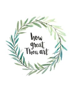 "Hand Lettered and watercolor Hymn Art Print ""How great Thou art"" by AprylMade"
