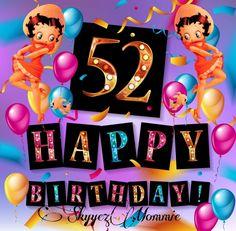 Betty Boop Happy 52nd Birthday, Happy 52nd Birthday Betty Boop Birthday, Birthday Cards, Happy, Handmade, Etsy, York, Street, Cake, Quotes
