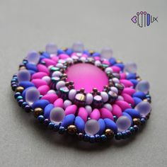 Neon - beaded cabochon by Iva Jar. (Bijioux) glass cab, Matubo rulla beads, superduo beads, seed beads Preciosa and Toho, czech pressed drops, round beads