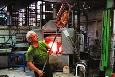 learn to blow glass from this mustachioed man in Murano    #ridecolorfully #katespadeny #vespa