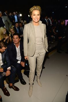 Pin for Later: The VS Runway Is Hot, but the Red Carpet Is Even Hotter Yolanda Foster Gigi's proud mom hit the front row in a chic monochrome look.