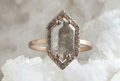 Hexagonal raw diamond ring | Alexis Russell