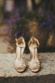 Jenny Packham's Luna for a Charming, Rustic Wedding   #wedding #weddings #bigday #bride Jenny Packham Shoes, Croatian Wedding, Wedding Pins, Wedding Images, Wedding Blog, Unique Wedding Shoes, Golden Shoes, Fine Art Wedding Photography, Photography Ideas