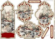 4 River Snow Scene Toppers on Craftsuprint designed by Sandie Burchell - 4 lovely ornate different shaped toppers that can be used for any style cards such as Easels, Steppers, A5 or Square Cards. Be as creative as you like with these! 3 sentiment panels are included: Merry Christmas, Happy Holidays or Blank
