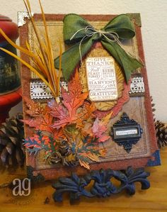 "Annette's Creative Journey: Fall Burlap Canvas for Inspiration Emorium's ""Fall is in the Air"" challenge using Tim Holtz, Ranger, and Sizzix products; Sept 2014"