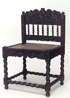 Antique Set Of 4 English Anglo Indian Rosewood Carved Side Chairs With Cane  Seat Panel And