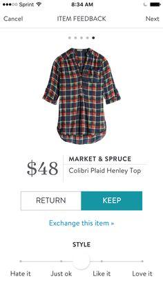 Market & Spruce   Colibri Plaid Henley Top