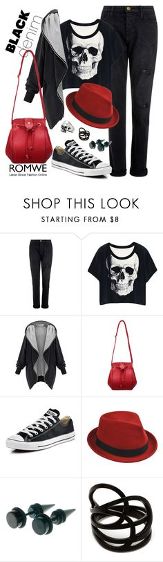 """""""Denim trend: black jeans"""" by yinggao ❤ liked on Polyvore featuring Current/Elliott, Converse, Stetson, Repossi, romwe and blackdenim"""