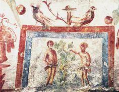 Adam and Eve, IV BCE. Catacombe Coemeterium Majus, Roma. Culture roman christian