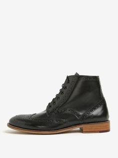 Černé kožené kotníkové brogue boty London Brogues Gatsby High