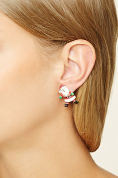 A pair of ear jackets featuring a Santa design, high-polish finish, and post backs.