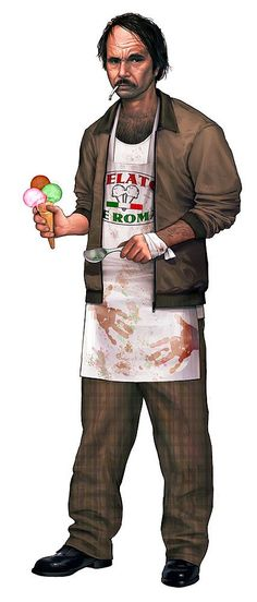"I was given a lot of freedom in concepting this guy. ""Creepy guy you wouldn't want serving you something to eat"" was my direction. The Gelato Guy"