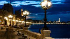 Lungomare in notturna Bari, Cn Tower, Building, Travel, Italy, Fotografia, Viajes, Buildings, Traveling