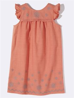 EYELET EMBROIDERY DRESS CORAL+NAVY